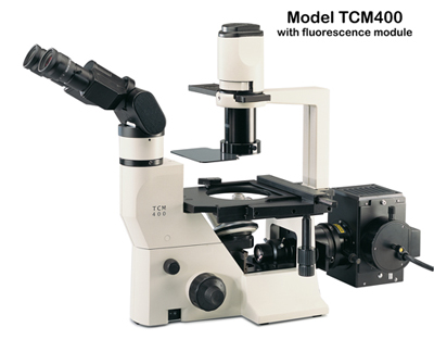 Labomed TCM400 Inverted Microscope biological microscope offers phase contrast and optional epi-fluorescence. Excellent cell culture or IVF microscope