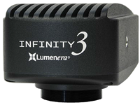 Lumenera Infinity models 3-3URFC color and 3-3URFM monochrome un-cooled 2/3inch CCD 2.8 megapixel high performance fluorescence digital microscope camera packages from Lumenera. Offering 53+ FPS at 1936 x 1456 resolution! USB 3.0