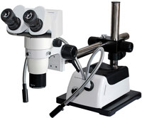 Stereo zoom microscopes for industrial and semiconductor; 10:1, 8:1, 6:1, 4:1 zoom ratio microscope models. Options for microscope stands, LED and fiber optic illumination, ergonomic heads, coaxial illuminators. Microscopes from Meiji, Labomed, Olympus, Nikon, and our own custom.
