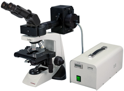 LABOMED Lx500 EPI-fluorescence Research microscope; Ergonomics combined   with fluorescence. Ideal laboratory research biological microscope. Compare to Olympus CX31, CX41, Leica DME microscope, Leica DMLM   microscope