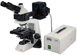 LABOMED Lx400 Fluorescence Microscope - Epi-fluorescence microscope with options: phase contrast, polarizing, darkfield. Fluorescence microscopy without the high cost.