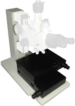 MICROSCOPE TOWER STANDS – Robust tower style stands with precision vertical motion, mechanical or motorized, custom configure to handle large X Y stages. Use your Olympus, Nikon, Leica, Zeiss optics or we can provide