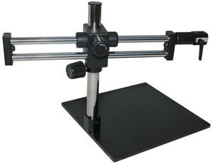 Boom arm stand, stereozoom stand, ergonomic stand, dual arm boom stand, stand accessories, adapter donut, camera stands, Bausch and Lomb stand, B&L stand.