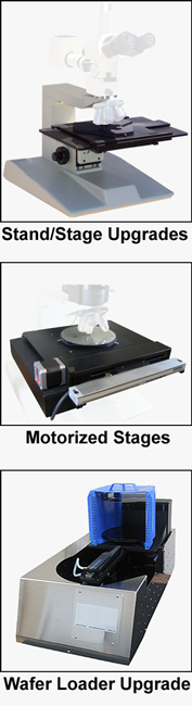 MICROSCOPE upgrades large stand/stage, motorized stages, measurement, wafer loaders